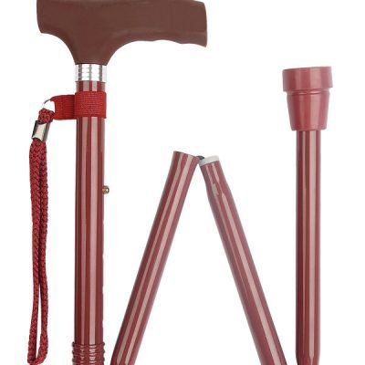 Burgundy Silicone Handle Folding Stick
