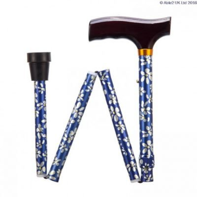 Folding Adjustable Walking Stick- Blue Petals
