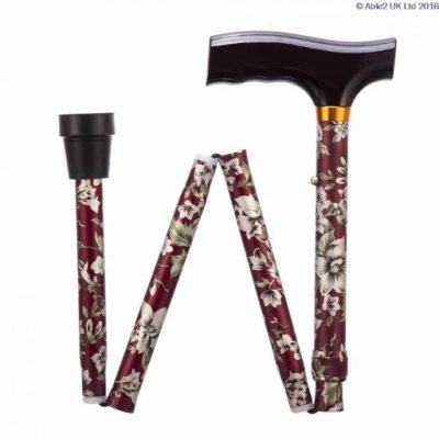 Folding Adjustable Walking Stick- Burgundy Flowers