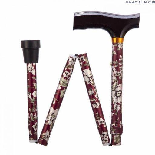 Folding Adjustable Walking Stick- Burgundy Flowers