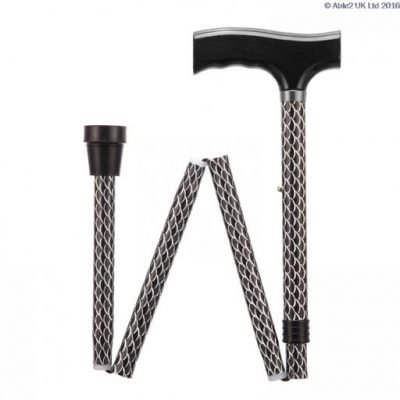 Folding Adjustable Walking Stick- Etched Black