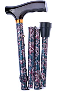 Folding Adjustable Walking Stick- Paisley