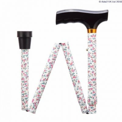 Folding Adjustable Walking Stick- Pink Flowers