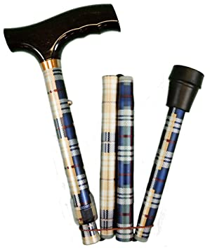 Folding Adjustable Walking Stick- Tartan