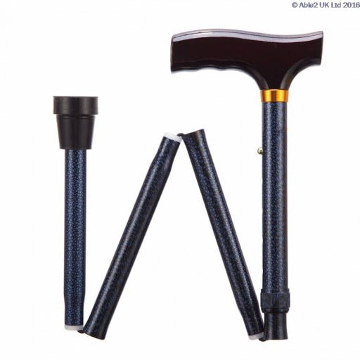 Folding Adjustable Walking Stick- Blue Ice